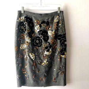 Eccoci Embellished Grey Wool Herringbone Skirt 4